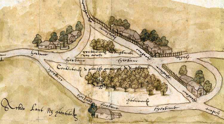 Plein met de dingbank (schepenbank) van Aarle (Aarle-Rixtel) met daar omheen allerlei typen boerderijen. Detail van de Kaart van de heerlijkheid Rixtel, 1552. foto uit 'De dynamische hoeve'.