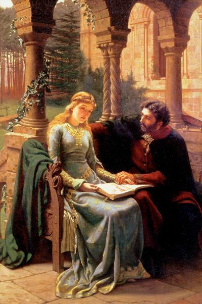 Abelard en Heloise.  schilderij Edmund Leighton (1882).
