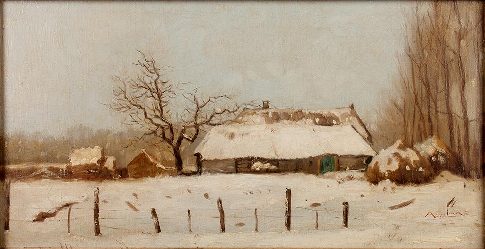 Arnold van de Laar, 'Brabants wintertje, De boerderij van Piet Dielensen in Hintham' (1925), olieverf op doek, Archief A. van de Laar, Den Bosch.