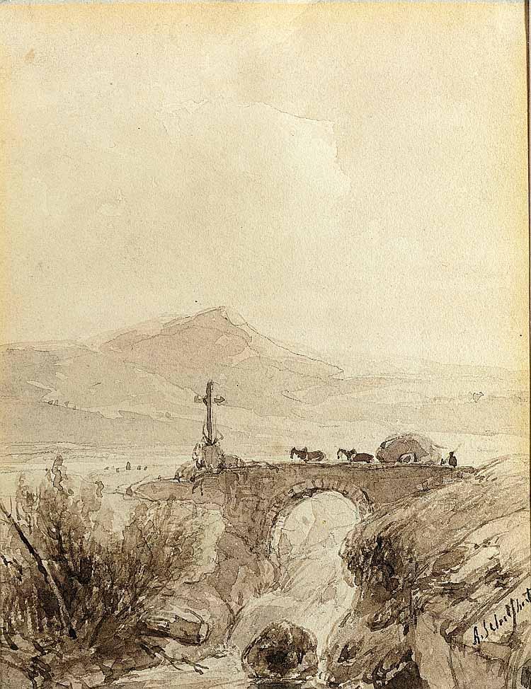 Andreas Schelfhout (1787-1870), Boer met hooiwagen op brug in landschap, pentekening. Collectie Museum Jan Cunen. foto Museum Jan Cunen
