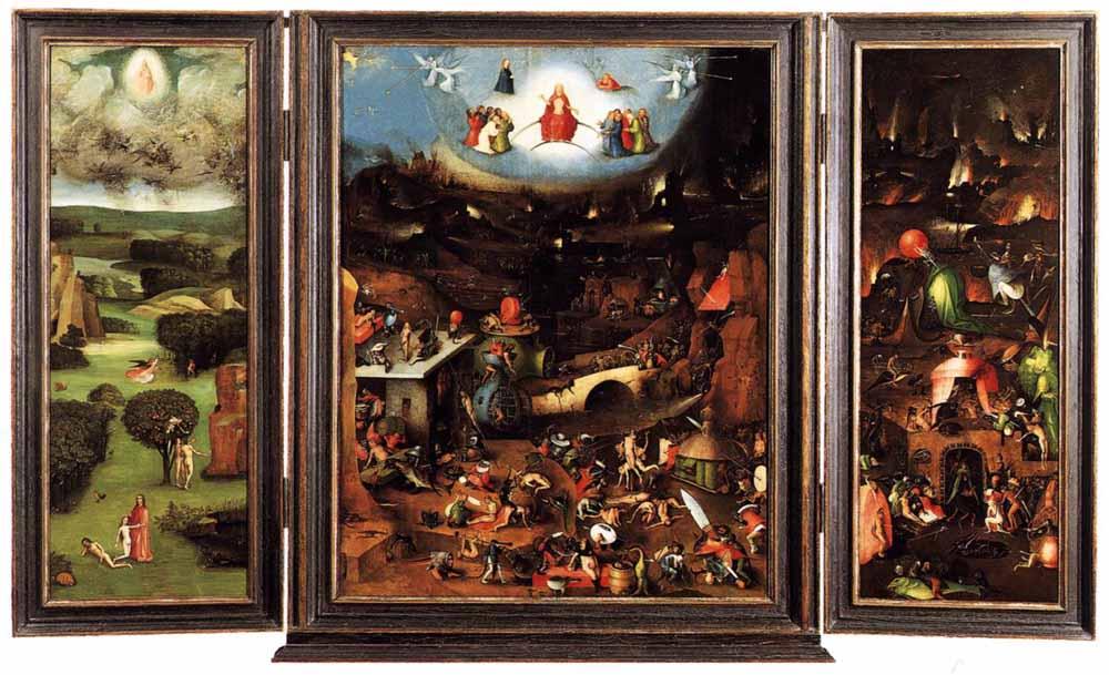 Jheronimus Bosch, Het Laatste Oordeel, drieluik, olietempera op paneel, ca. 1504-1508, Collectie Gemäldegalerie der Akademie der bildenden Künste, Wenen.