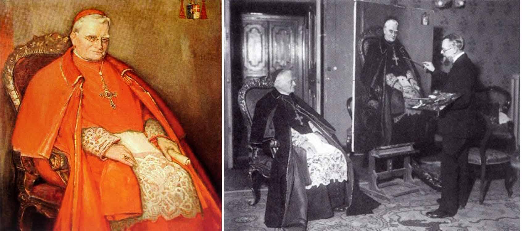 Jan van Delft aan het werk in Rome tijdens het schilderen van het portret van kardinaal W.M. van Rossum. fotograaf onbekend
