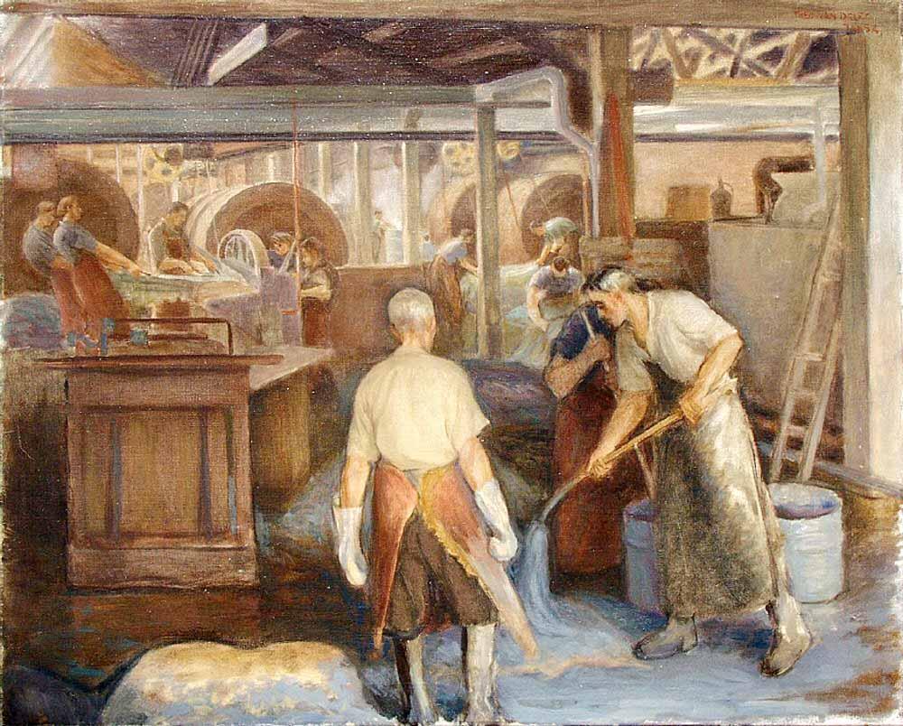 Leerlooierij, olieverf op doek door Theo Jansz. van Delft.