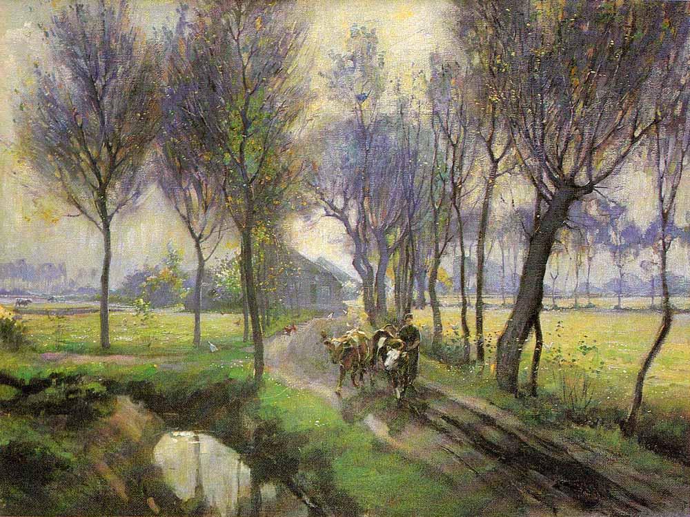 Loons hoekje met boerin en koeien door Theo van Delft.