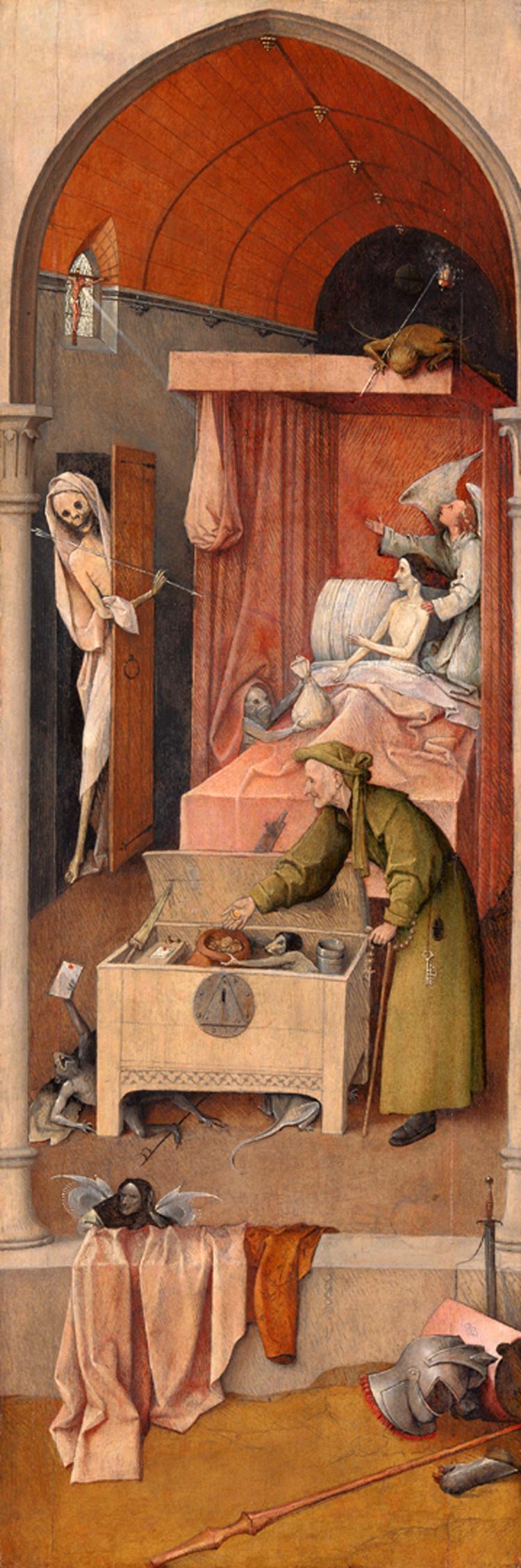 Jeroen Bosch, De dood en de vrek (National Gallery of Art, Washington), onderdeel van de Landlopertriptiek (ca. 1500-1510). Foto en beeldverwerking Rik Klein Gotink en Robert G. Erdmann (BRCP)