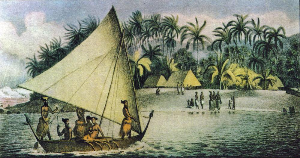 Oude tekening van een koraaleiland in de Polynesische Tuamotu-archipel. Zo zag Takapoto er uit in de tijd dat 'Haaieneiland' zich afspeelt.