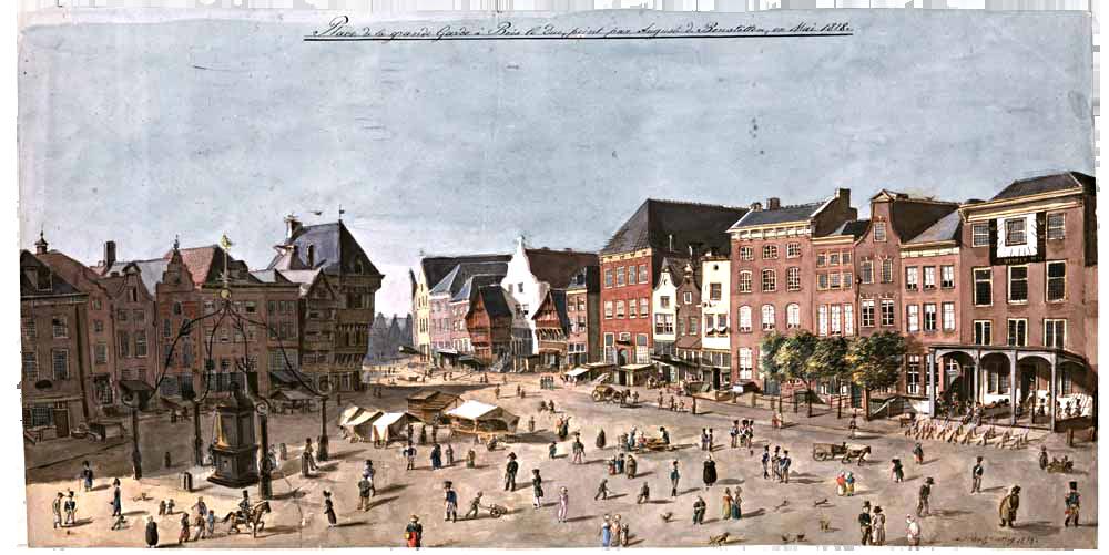 August von Bonstetten, de Markt in 's-Hertogenbosch met uiterst rechts de hoofdwacht, 1818. Pen en penseel op papier, privéverzameling . Foto Bill Muncke