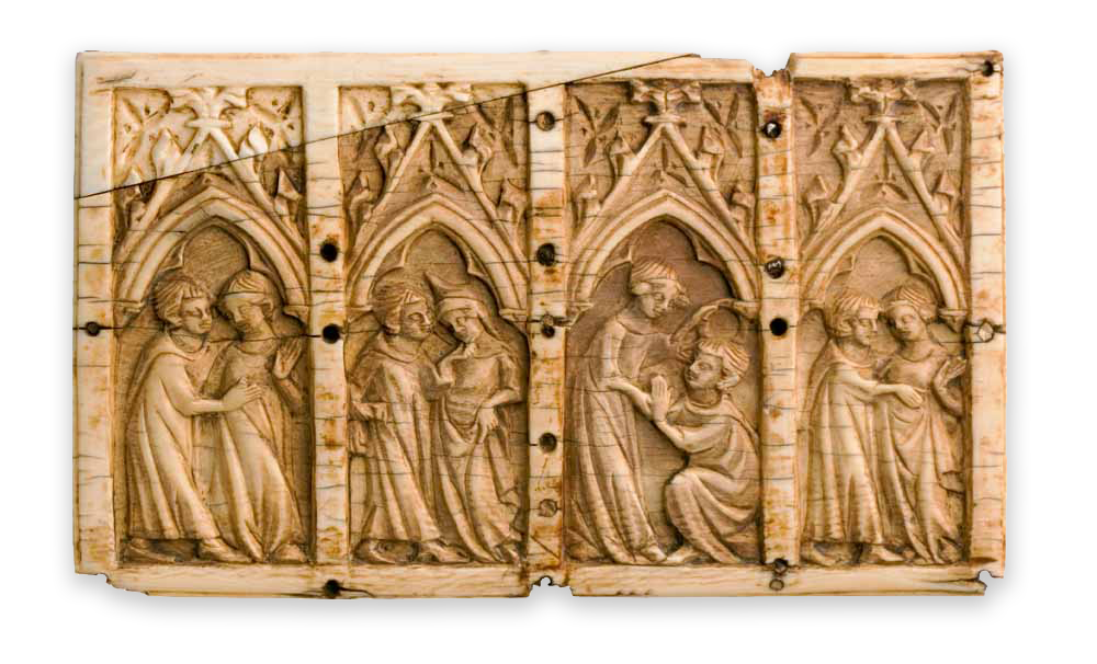 Ivoren deksel van een 'minnekistje' met vier hoofse scènes. Frankrijk, eerste helft van de veertiende eeuw. Bonnefantenmuseum, bruikleen v.z.w. Fundatie voor de kunst der middeleeuwen.