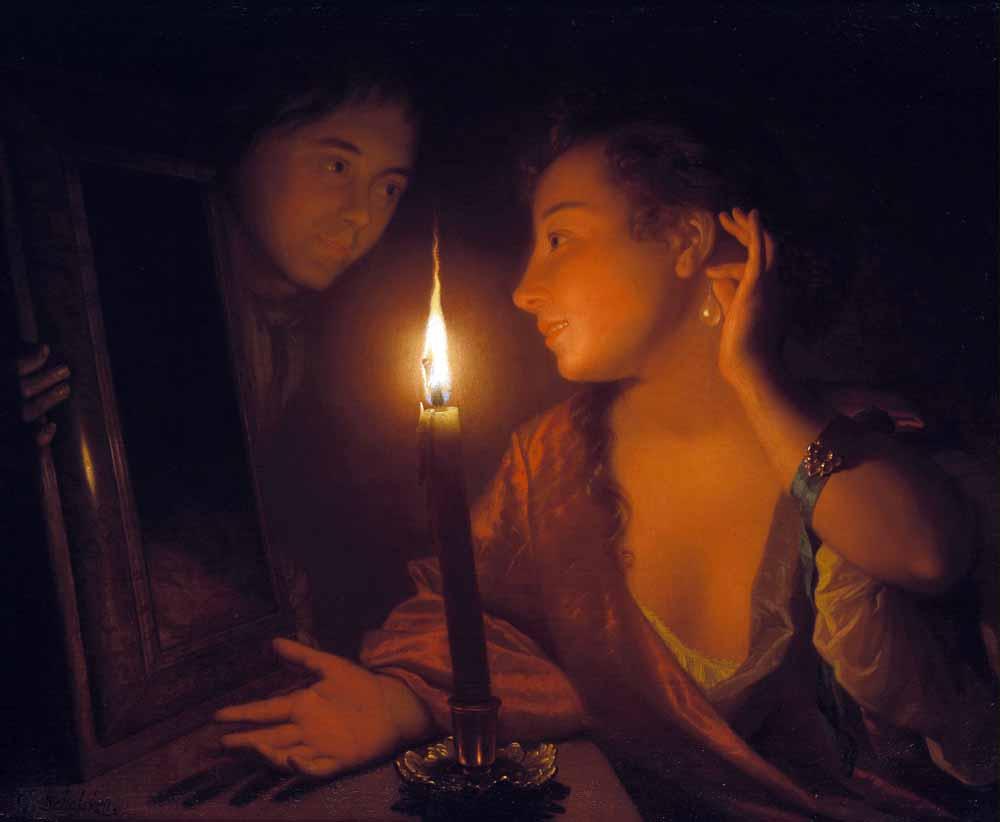 Godefridus Schalcken, Jonge vrouw die een oorhanger bewondert bij kaarslicht, ca. 1690-1700. Olieverf op doek. Privécollectie (courtesy Johnny Van Haeften Ltd., Londen).