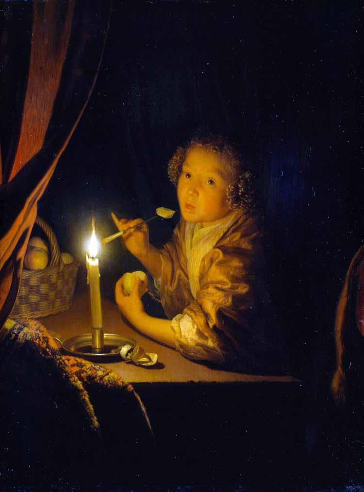 Godefridus Schalcken, Appel etend meisje bij kaarslicht, 1675-1679. Olieverf op paneel. Staatliches Museum Schwerin / Ludwigslust / Güstrow.