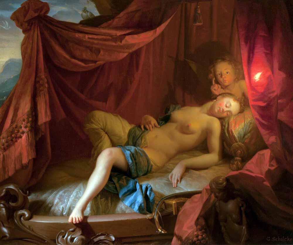 Godefridus Schalcken, Slapende Venus met Cupido, vóór 1685. Olieverf op doek. Praag, Národni galerie v Praze.