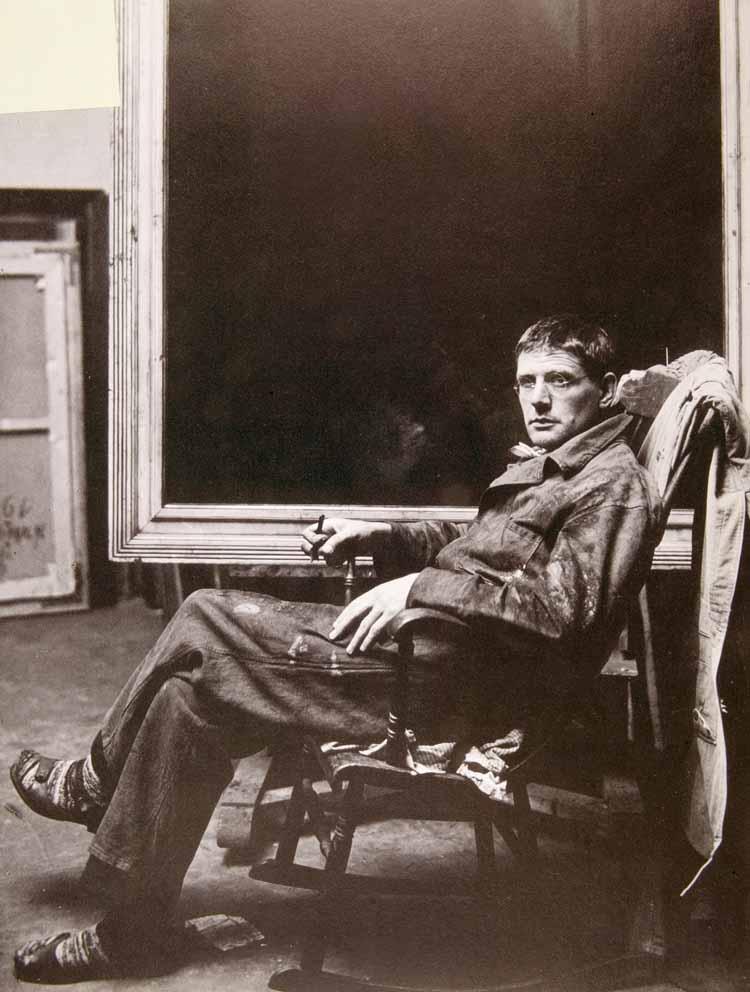 Hendrik Wiegersma in zijn atelier, 1932. Fotograaf onbekend
