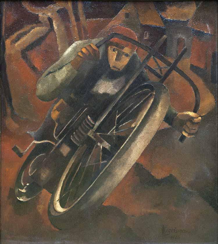 Hendrik Wiegersma, De motorrijder, olieverf op doek, 1926 (langdurige bruikleen collectie erven Pieter Wiegersma).