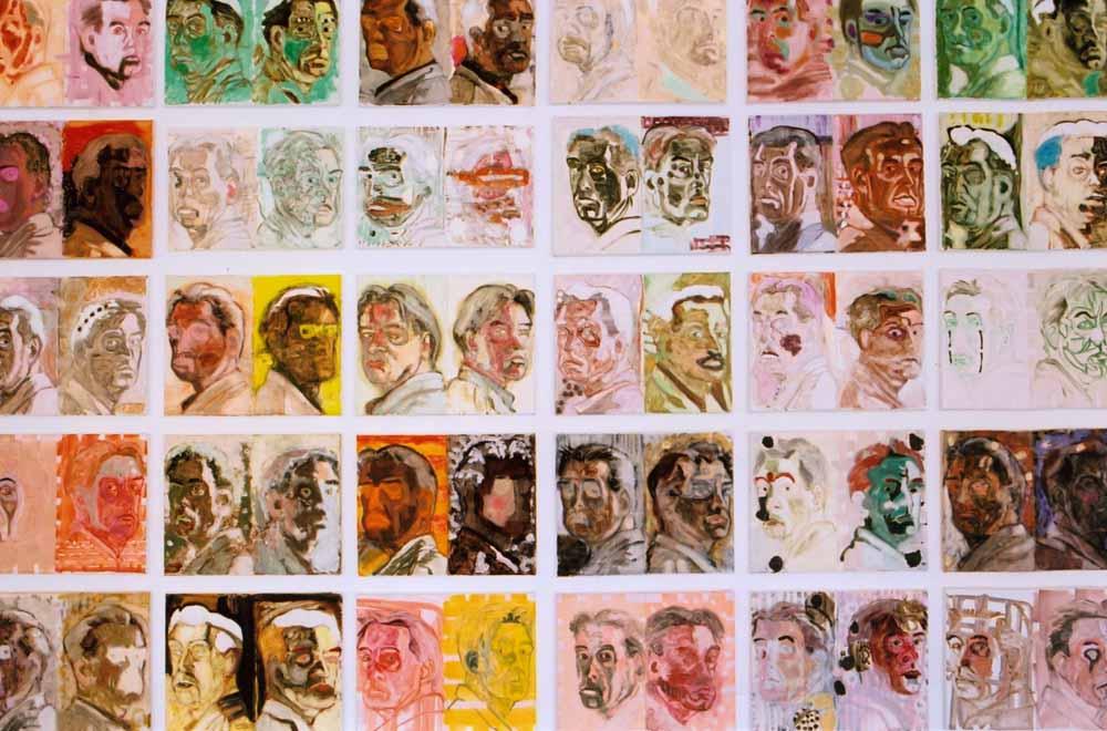 Peter Kantelberg, Zelfportretten, olieverf en bijenwas op doek, 2001-2009, collectie kunstenaar.