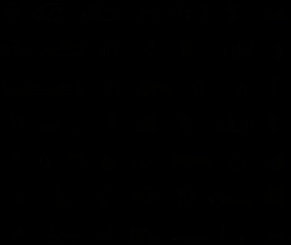 De pictogrammen uit het lettertype TilburgsAns. Ontwerp Ivo van Leeuwen