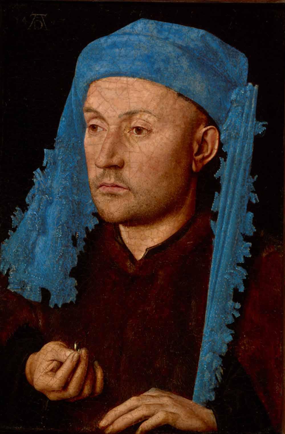 Jan van Eyck, Man met blauwe tulband, ca. 1430, olieverf op paneel, Nationaal Museum Brukenthal, Sibiu, Roemenië
