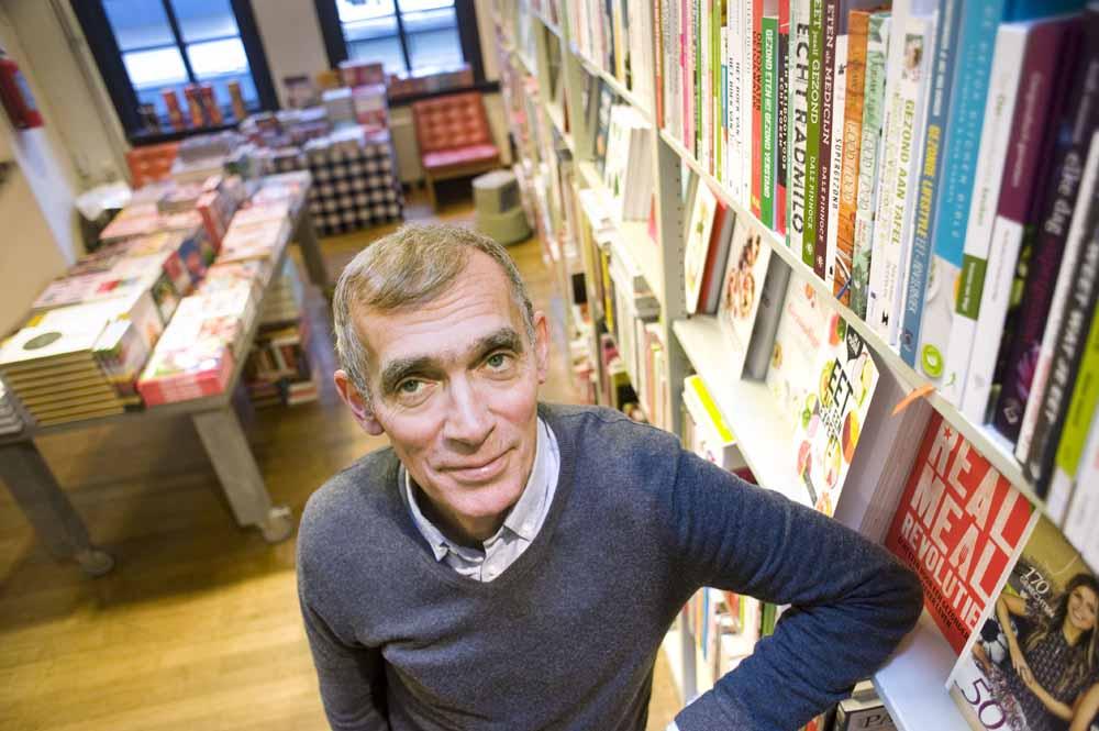 Nederland, 's-Hertogenbosch, 2016 André Stikkers van boekhandel Adr. Heinen in de Kerkstaat in het centrum van Den Bosch. foto Piet den Blanken / Hollandse Hoogte